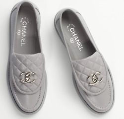 21b Grey Quilted Flap Turnlock Cc Logo Silver Mule Slip Flat Loafer 37.5