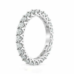 Solid 14k White Gold 2.50 Ct Real Round Engagement Diamond Eternity Band Size N