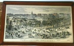 Framed Print Of Boston – The Public Garden Charles And Beacon Stree 1869