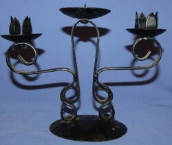 Vintage Handcrafted Wrought Iron Candelabra