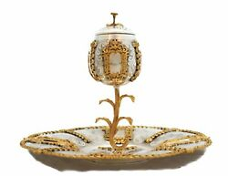 Fine 925 Sterling Silver And Gilded Vizniz Garland Designed Covered Cup And Tray