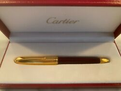 New Louis Red Burgundy Marble Motif Lacquer And Gold Ballpoint Pen Box