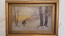 Antique Antal Neogrady Original Oil Painting Hunting Scene Hungarian Realism