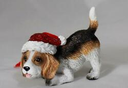 2021 Beagle Dog With Glittering Red Santa Hat Christmas Tree Ornament New W Tag
