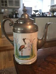 Antique Manning And Bowman Co. Granite Ware Enamel And Pewter Coffee Pot Andldquoheronandrdquo
