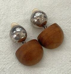 Vintage 925 Sterling Silver And Teak Earringsisrael Jewelry Made By Simon Sebbag