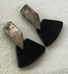 Vintage 925 Sterling Silver And Wood Earrings Israel Jewelry Made By Simon Sebbag