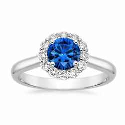 Real 1.78 Ct Diamond Wedding Blue Sapphire Ring Solid 14k White Gold Size 7 8 9
