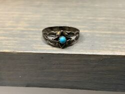 Sterling Silver and Turquoise Children's Ring Size 2.75 Marked J $7.99