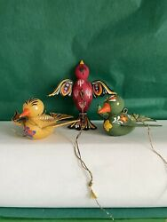 Vintage Christmas Three Hand Painted Wooden Bird Ornaments Made in Austria