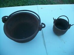 Lot Vintage Cast Iron 7 Inch And 4 Inch Pots For Melting Lead Sinkers Shot Ect...