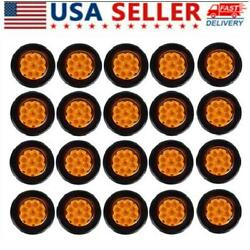 20pcs Tractor Truck Bus Fail Safe Flasher Light 2 Round Amber Warning Led Light
