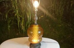 Vintage 1972 Ef And Ef Industries Mid Century Amber Glass Diffuser Table Lamp Mcm