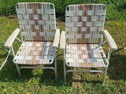 Lot Of 2 Vintage Aluminum Folding Beach Lawn Patio Outdoor Chairs Webbed Straps