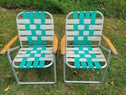 Lot Of 2 Vintage Aluminum Folding Lawn Patio Outdoor Chairs Webbed Wood Arm Rest