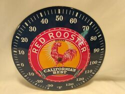 Red Rooster Californiaand039s Best Porcelain Thermometer Farm And Seed - Vintage