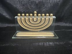 Clear Glass Menorah With Gold Tone Israel Clear