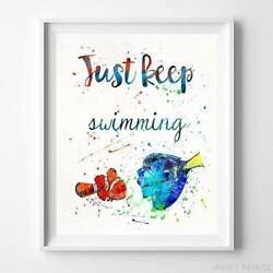 Finding Nemo Quote Type 2 Wall Art Disney Watercolor Poster Home Decor Unframed