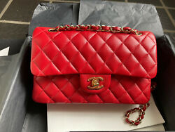 Authentic Chanel classic double flap bag 19b red small with LGHW $7299.99