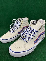 Sk8 Hi Leather Skate Shoes Evil Knievel True White Racing Red Americana