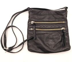 Hobo International Black Crossbody Purse with Double Zippers 9quot; Blemish $45.00
