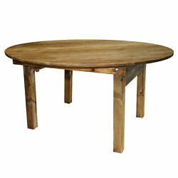 Pre Round Pine Wood Farm Table With Folding Legs Rustic 5014