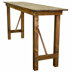 Pre Pine Wood Farm Bar Height Table With Folding Legs Rustic 5012