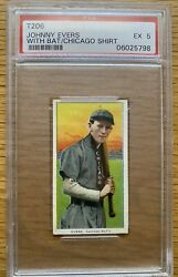 1909 T206 Baseball Johnny Evers With Bat Chicago Psa 5 Ex Fact 42 Overprint