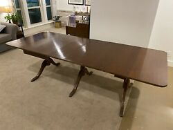 Rare 1930's Duncan Phyfe Antique Mahogany Drop Leaf Dining Table With 4 Leaves