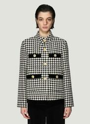 Black/white Houndstooth Gold Button Relaxed Fit Blazer Size 36/us 0