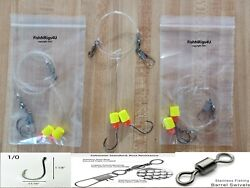 12 Surf Fishing Rigs 1/0 Hook Pompano Whiting Drum Flounder 20lb Fluorocarbon