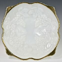 Vintage Anchor Hocking Milk White Opaque Glass Footed Bowl Grape Pattern Gold