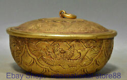 5.6 Marked Old Chinese 24k Gold Dynasty Palace Phoenix Flower Lid Bowls
