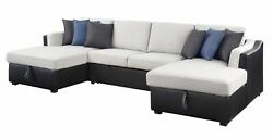 Acme Merill Beige Fabric And Black Pu Sectional Sofa With Sleeper And 56015