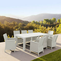 Siesta Extendable Dining Set 9 Piece With Natural Cushion Isp8066s-wh