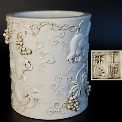Antique Vintage Chinese Porcelain Brush Pot Squirrels And Grapes