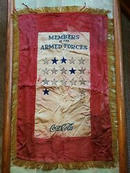 Vtg 40s Wwii Military Army Air Force Navy Coca-cola Flag Advertising Bottle Sign