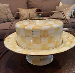 Mackenzie-childs Parchment Check Pedestal Cake Stand/cover/carrier
