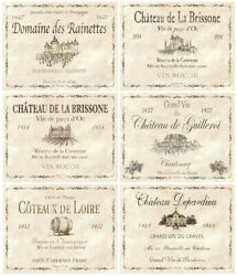 6 Placemats + 6 Coasters - Wine Bottle Labels, French Wine, Cinnamon, Cork