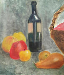 Vintage Fauvist Oil Painting Still Life With Fruits And Bottle Of Wine
