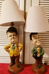 Vintage 'extremely Rare' Laurell And Hardy Chalkware Figurine Lamps. Excellence