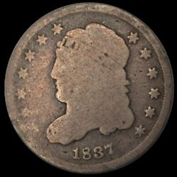 1837 U.s. 5¢ - Liberty Capped Bust Silver Half Dime Large 5 - G