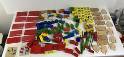 Vintage Creative Playthings Zoo Miniature Wooden Toys People Animals Car Lot