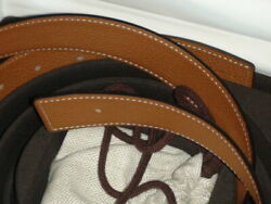 Hermes 42mm Belt Size 95cm Reversible Black And Fauve Brown Gold Buckle New