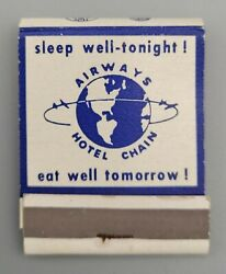 Full Unstruck Front Strike Matchbook - Airways Hotel Buffalo Ny 1960and039s