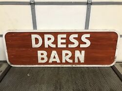 """Huge 90"""" Vintage Wood Dress Barn Clothing Store Sign, Excellent Condition"""