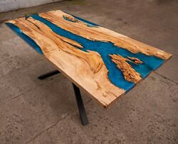Epoxy Coffee Table Natural Wooden Table Blue Resin River Dining Table Top