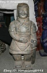 73cm Hongshan Culture Old Jade Carving Terracotta Army Man People Arms Statue