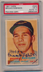 1957 Topps 328 Brooks Robinson Rc Signed Card Psa 10/3 631461