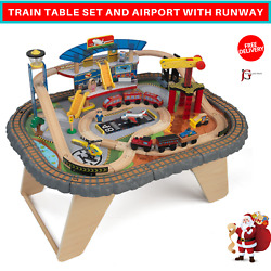 Deluxe Train Table Set And Airport With Runway With 58 Wooden Pieces For Kids Play